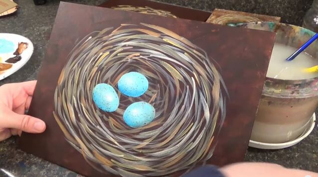 Awesome acrylic painting tutorials- birds nest