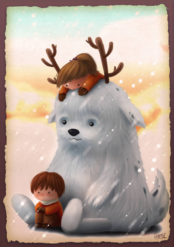 Childrens Book Illustration Tutorials- childrens winter character