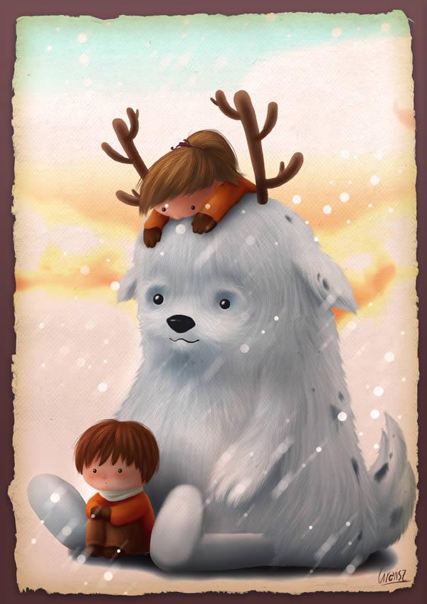 Childrens Book Illustration Tutorials- childrens winter character