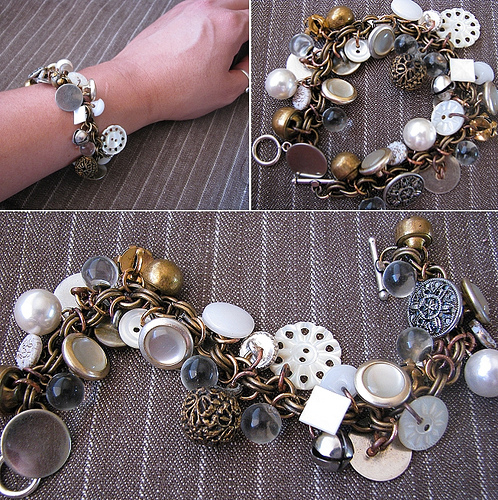 Cool and Grunge DIY Recyled Tutorials-button bracelet