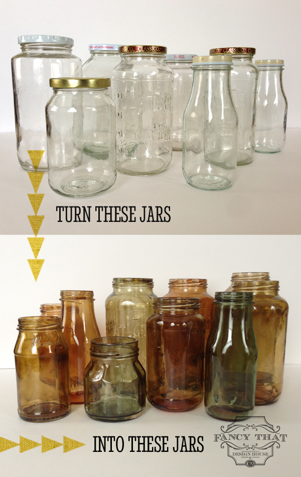 Cool and Grunge DIY Recyled Tutorials- colour tinted glass jars