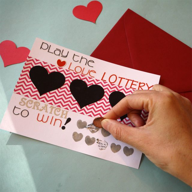 DIY Scartch off Valentines lottery card