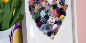 DIY button heart art