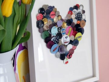 DIY button heart art