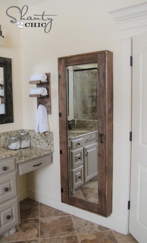 DIY mirror storage cabinet