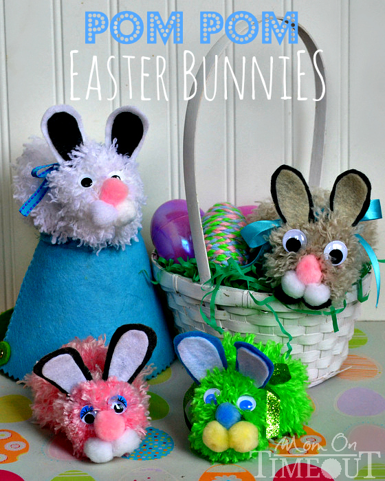 Easter DIY pom pom easter bunnies