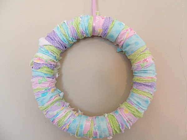 Easter DIY spring rag wreath
