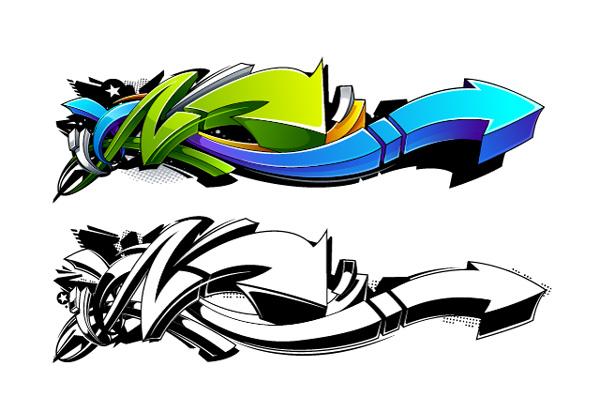 Graffiti Photoshop Illustrator Tutorial-styled arrow