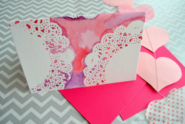 Mothers Day card DIYs doily watercolour