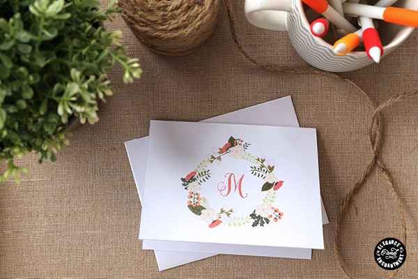 Mothers Day card DIYs printable monogrm notecards