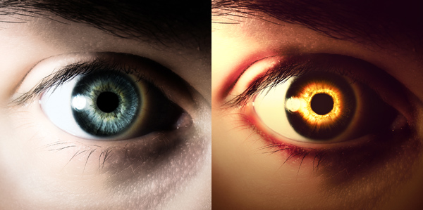 Photoshop Eye Editing-eerie effect