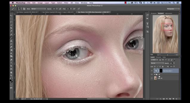 Photoshop Eye Editing- remove hair and veins