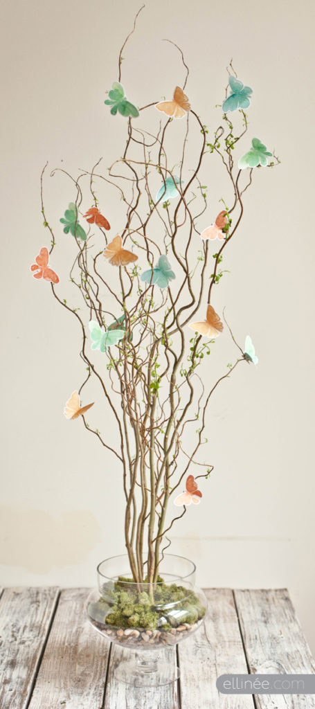 Springtime Decoration Tutorial DIYs-Twig and Butterfly Centrepiece
