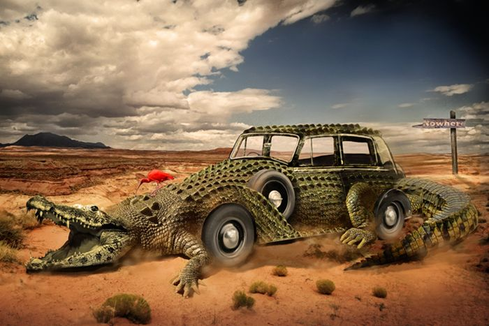Photo Manipulation Photoshop Tutorials- crocodile car
